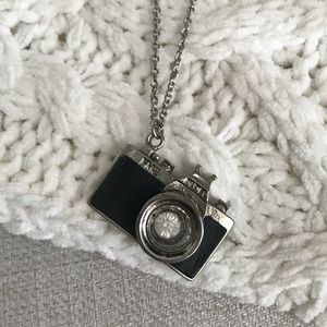 Silver Long Necklace with Camera Pendant